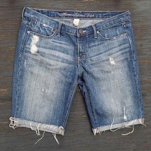 Distressed Denim Jean Bermuda Shorts